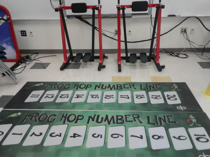 At Billingsville Elementary in Charlotte, students use this hop scotch-style number line to work on math problems