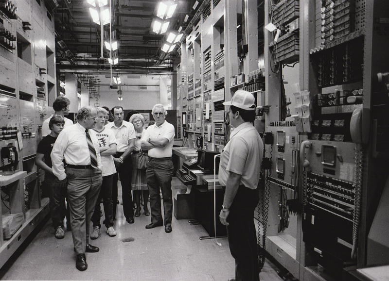 AT&T employee Dexter McIntyre, right, gives a tour of the underground bunker to members of the public in 1971.