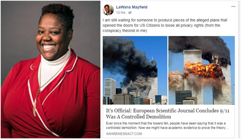 Charlotte City Councilor LaWana Mayfield pushed a Sept. 11 conspiracy theory on her Facebook page.
