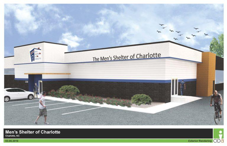 A rendering of the renovated Men's Shelter of Charlotte on North Tryon Street.