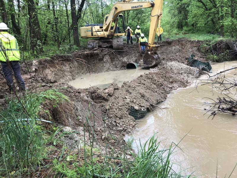 An estimated 15.4 million gallons of sewage spilled into Long Creek near Oakdale Drive this week.