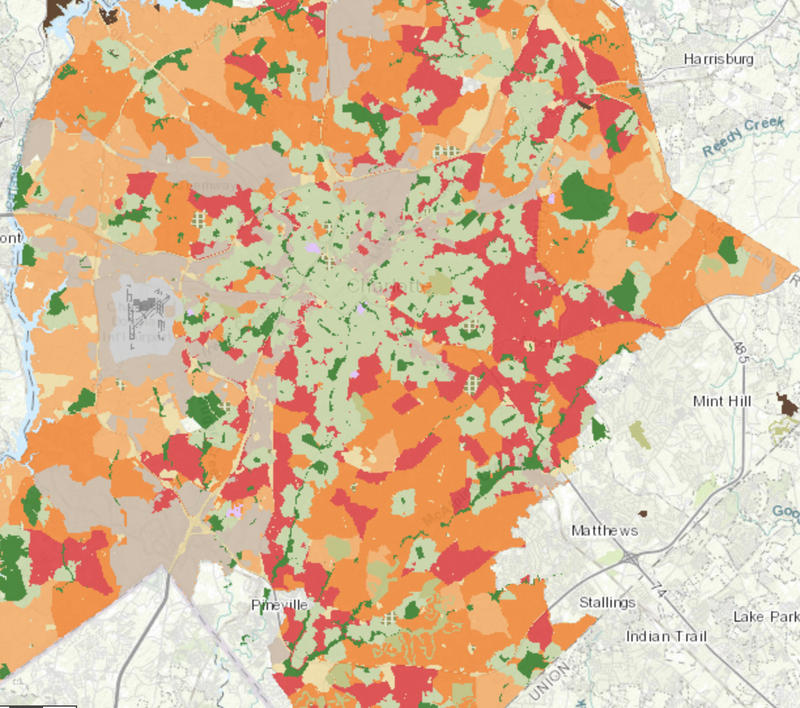 A map on the ParkScore ranking website shows areas of Charlotte most in need of parks in red (very high) and orange (high).