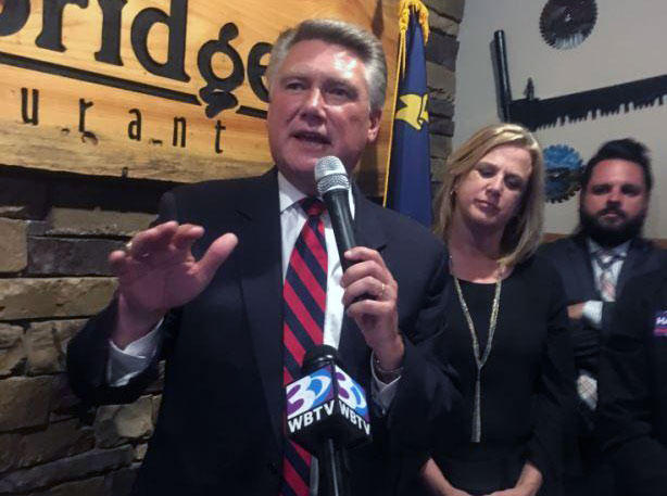 Mark Harris addresses supporters Tuesday night during his victory party.