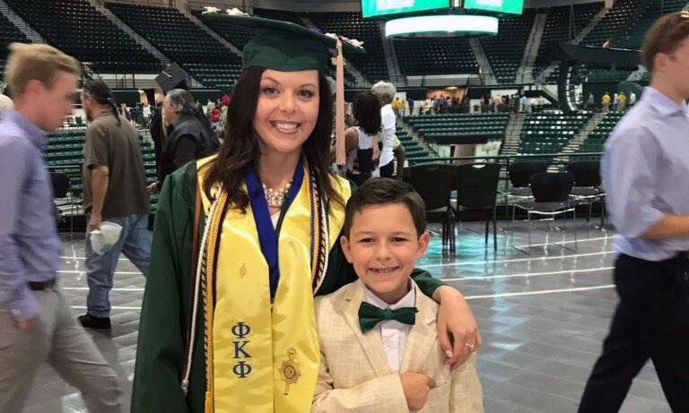 Amanda Ruiz and her 10-year-old son Jayden. Ruiz graduated from UNC Charlotte this month with help from the Answer Scholarship program for moms