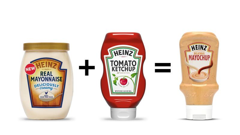 Mayochup is a mixture of mayonnaise and ketchup.