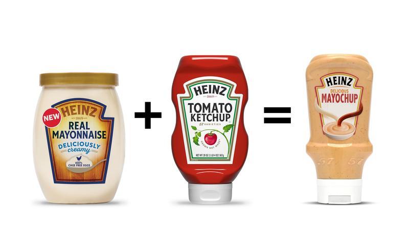 Mayochup is a mixture of mayonnaise and ketchup.