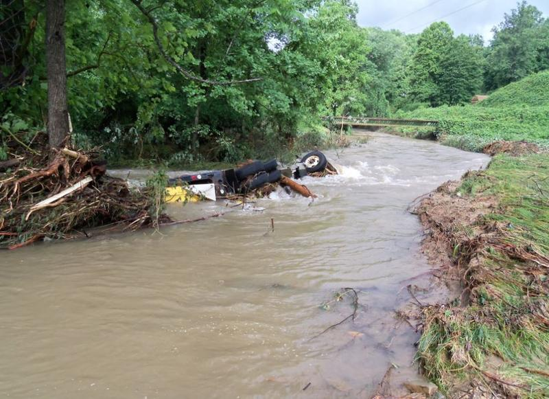Photo from the mudslide where an NCDOT truck was pushed into the Catawba River in McDowell County.
