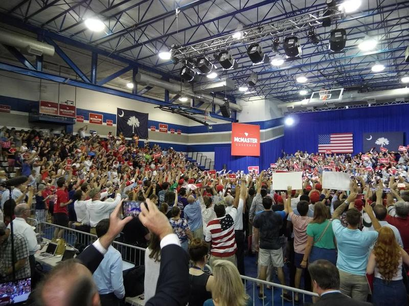 More than 1500 people packed a high school gym in West Columbia for the McMaster rally with Trump.
