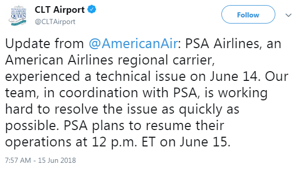 CLT Airport Twitter