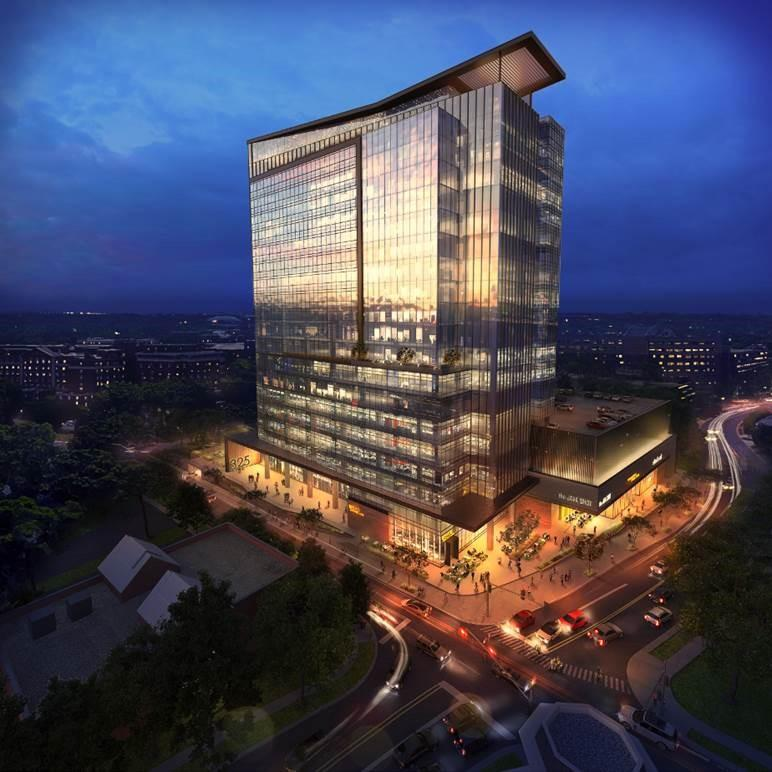 Rendering of the proposed hotel/office tower. It's a view from the corner of Third Street and Baldwin Avenue.