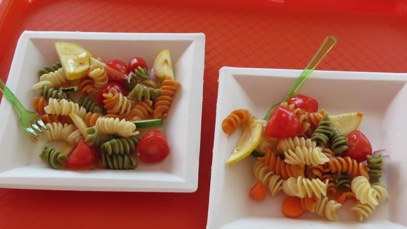 Free pasta made with market vegetables and served by county Health Department officials