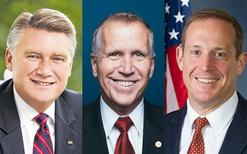 From left to right: Mark Harris (R - congressional candidate District 9), Sen. Thom Tillis (R-NC), Rep. Ted Budd (R- Davie County)