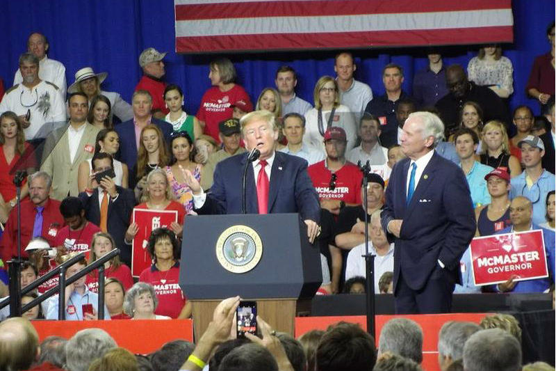 President Donald Trump campaigned for South Carolina Gov. Henry McMaster in West Columbia June 25.