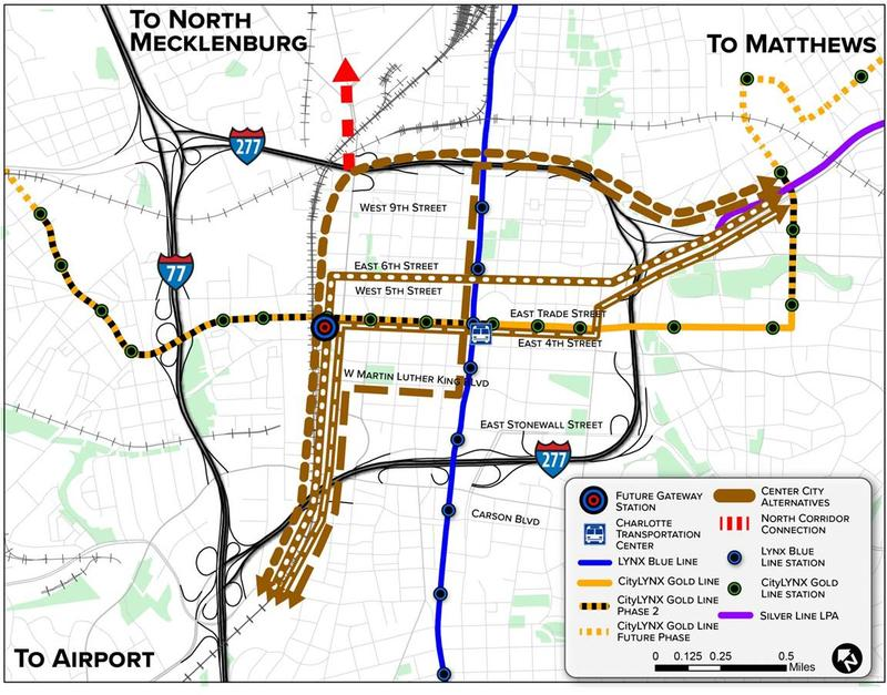 CATS is considering several options for connecting a new west corridor light rail line in the center city, including a tunnel and surface routes. The tunnel would run from I-277 (bottom) to Graham Street near the planned Gateway Station.