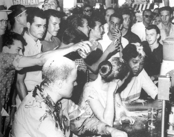 The Greensboro sit-ins in the Woolsworth Department Store Lunch Counter, one of hundreds organized by North Carolina college students.