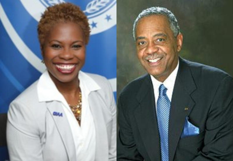 CIAA Commissioner Jacqie McWilliams, left, and Board Chair James Anderson, right.