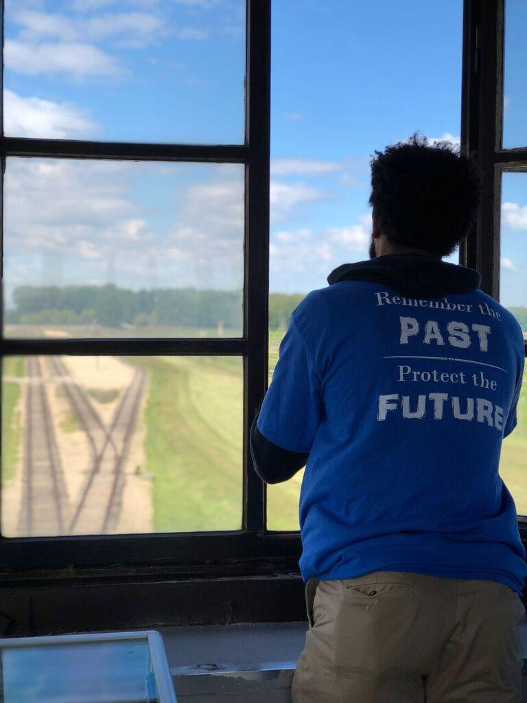 Wildcats player KiShawn Pritchett during Auschwitz visit
