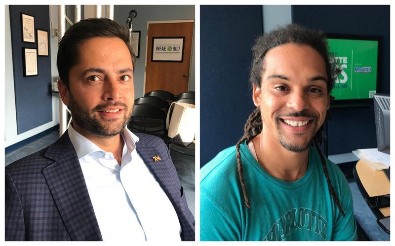 Charlotte City Councilors Tariq Bokhari and Braxton Winston in Charlotte Talks' Spirit Square studio.