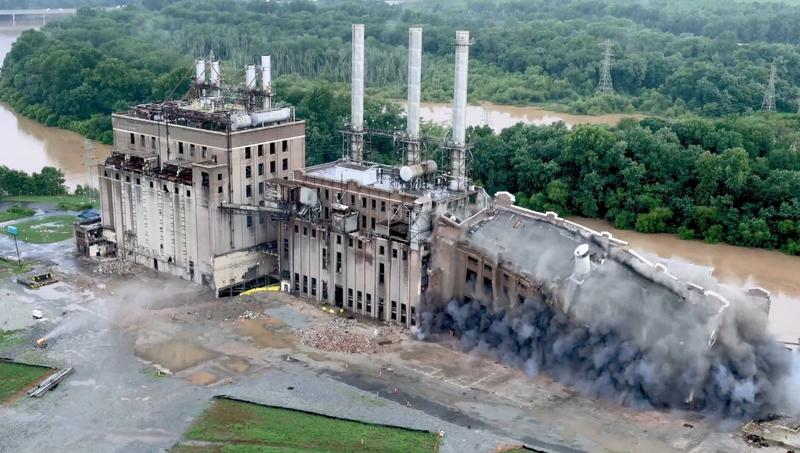 Duke Energy imploded the oldest section of the retired Buck Steam Station coal fired power plant Thursday.