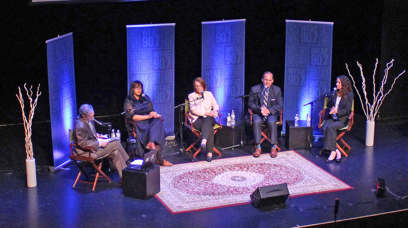 Thursday night's panel, from left: Charlotte Talks host Mike Collins, She Says podcast host Sarah Delia, CMPD Deputy Chief Katrina Graue, Lt. John Somerindyke of Fayetteville Police Department, and Brave Step director Crystal Emerick.