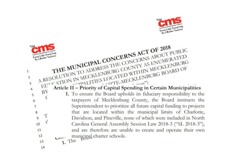 The resolution would put Huntersville, Cornelius, Matthews and Mint Hill at the bottom of the CMS priority list for new schools..