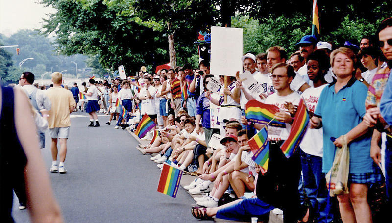 Rainbow flags and smiles at the 1994 North Carolina State Pride, held in uptown Charlotte.