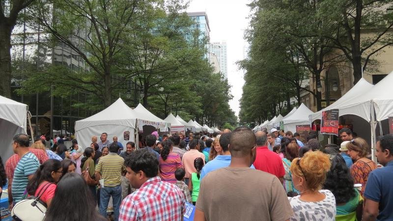 Festival-goers crowded North Tryon Street during last year's Festival of India