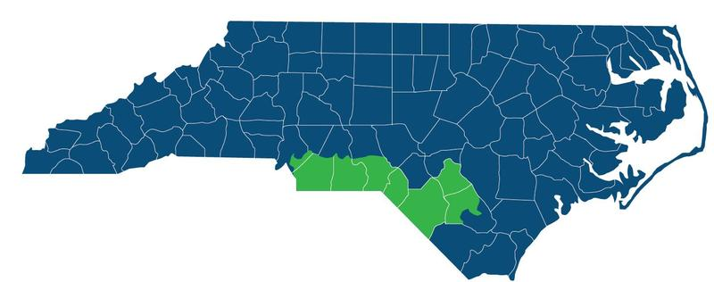 The North Carolina 9th Congressional District is seen here in green.
