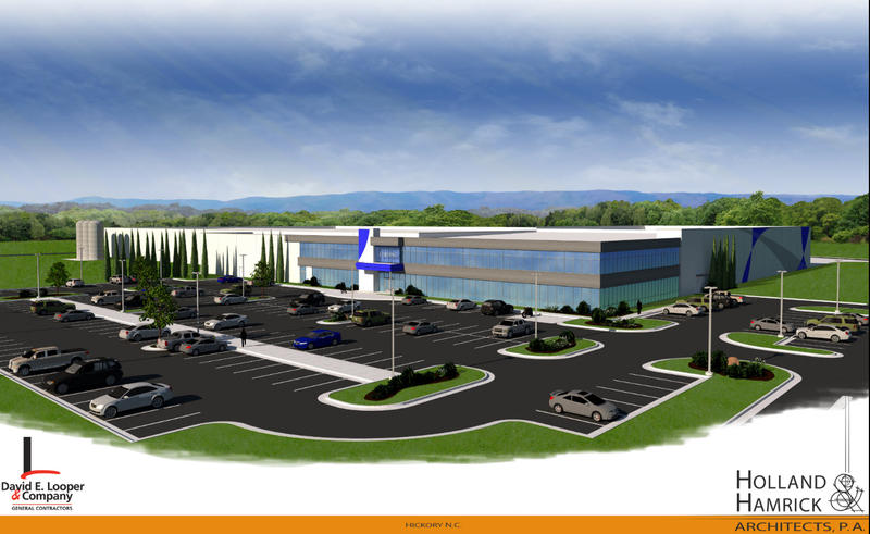 Rendering of Corning Inc.'s planned $60 million optical cable plant at Trivium Corporate Center in southeast Hickory.