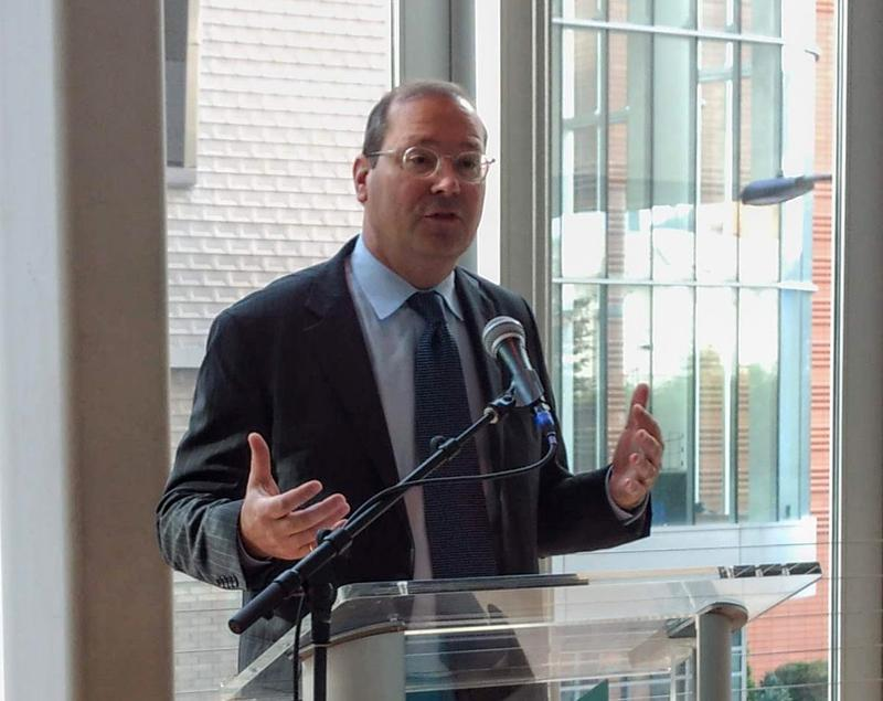 New Mint Museum CEO Todd Herman talks to supporters and community members at an introductory breakfast Wednesday at Mint Museum Uptown.
