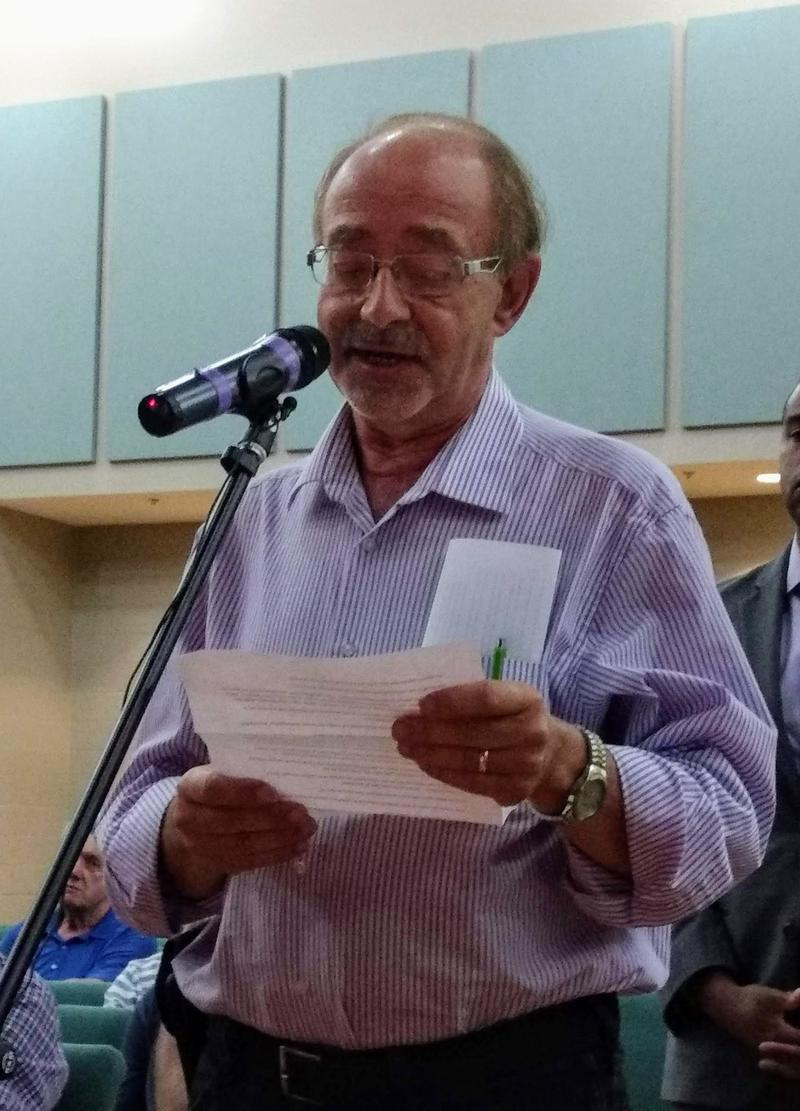 William Rakatansky of Cornelius spoke during the hearing against the project.