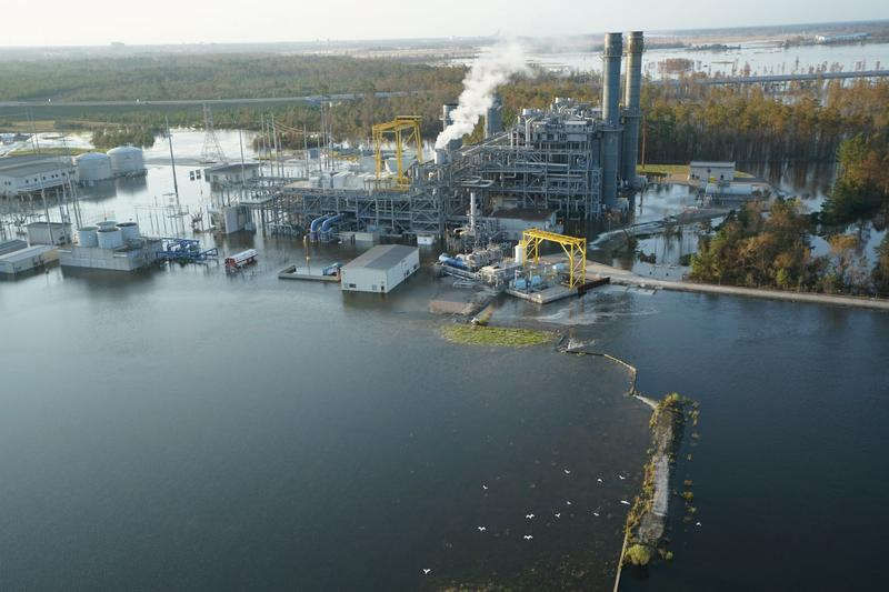 The flooding Cape Fear River has surrounded the gas-fired Sutton plant near Wilmington and overrun a former cooling lake on the site.