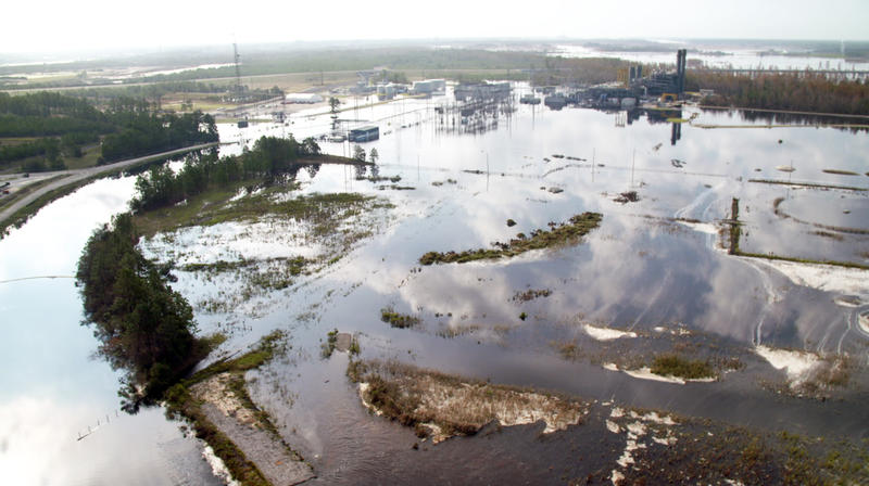 Floodwaters from the Cape Fear River surround Duke Energy's gas-fired Sutton plant on Sept. 22, 2018.  About a foot of water entered the plant, which has been shut down.
