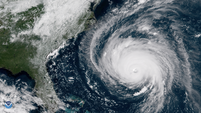 Hurricane Florence seen from NOAA's satellite approaching the Atlantic coast.