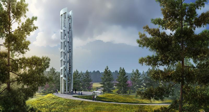 The Tower of Voices is conceived as a monumental, ninety-three feet tall musical instrument holding forty wind chimes, representing the forty passengers and crew members of Flight 93 on Sept. 11.