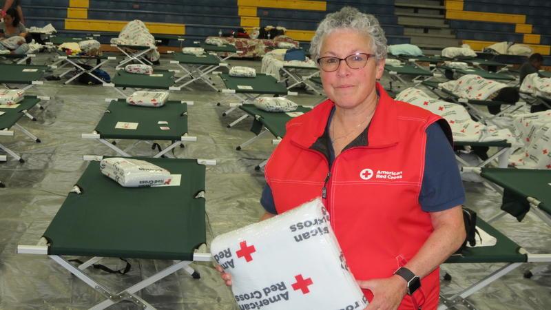 American Red Cross spokesperson Jerri Jameson at Hurricane Florence shelter at East Mecklenburg High School