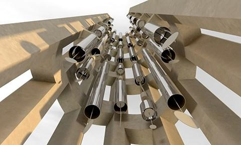 The wind chimes inside the Tower of Voices.