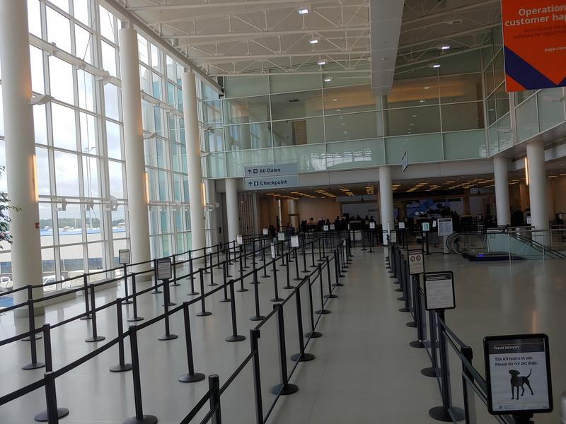 Charlotte Douglas Airport is open Friday, Sept. 14, 2018, but mostly empty.