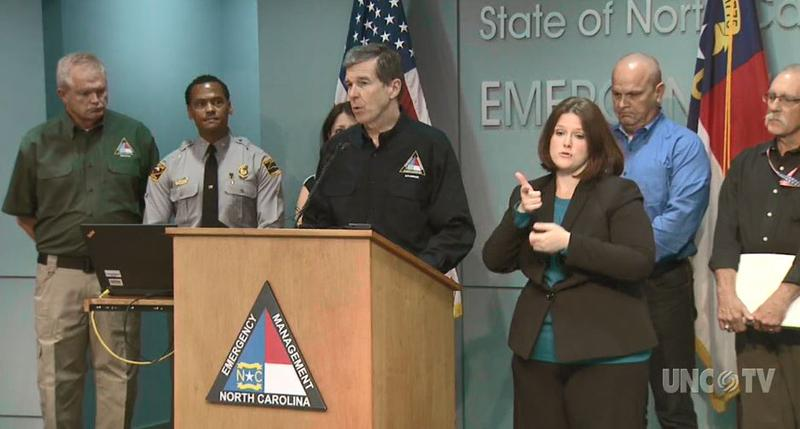 Gov. Roy Cooper addresses the public with an update on Hurricane Florence Wednesday, Sept. 12.