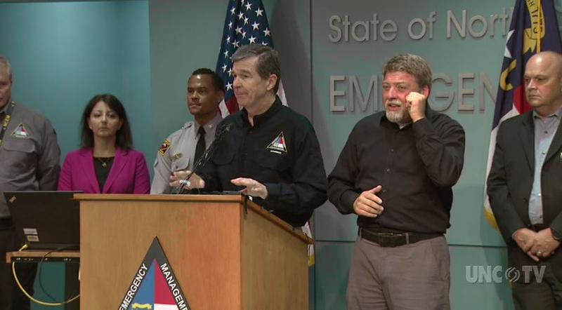 North Carolina Gov. Roy Cooper addresses the public at a press briefing on Hurricane Florence Thursday, Sept. 13.