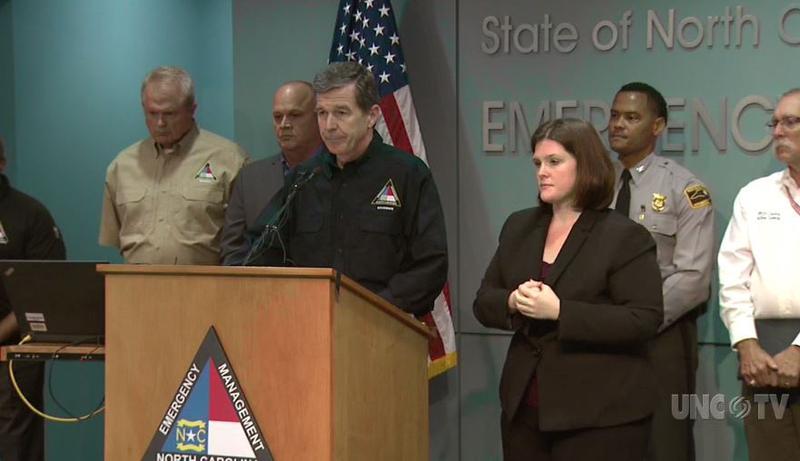 North Carolina Gov. Roy Cooper discusses Hurricane Florence Friday, Sept. 14.