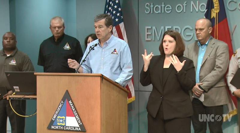 North Carolina Gov. Roy Cooper addresses the public on Tropical Storm Florence Saturday, Sept. 15.