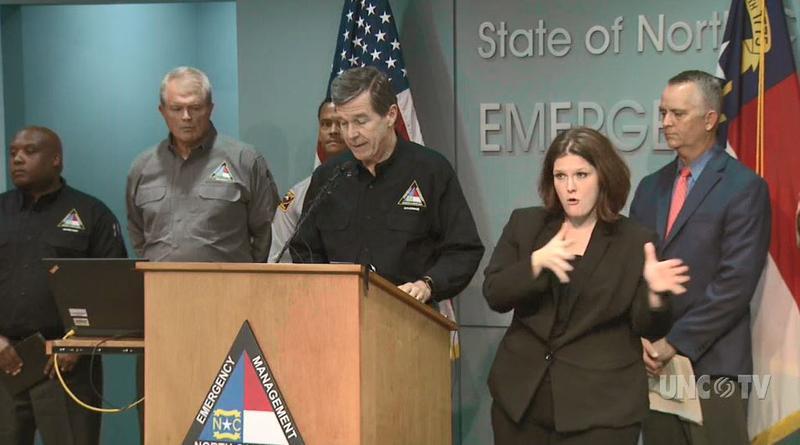 Gov. Roy Cooper giving the latest Hurricane Florence update Thursday evening.