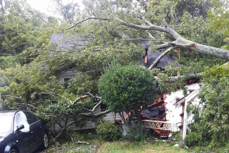 Winds from Florence sent a tree crashing down on Nichole Sanchez's rental home on the night of Sept 14.