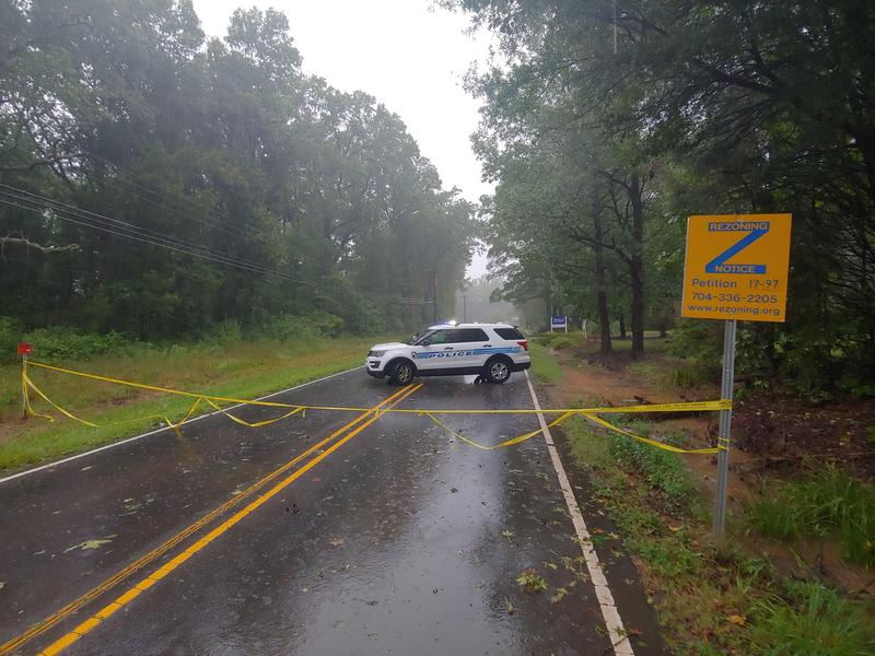 A downed power line across Shopton Road in Charlotte.