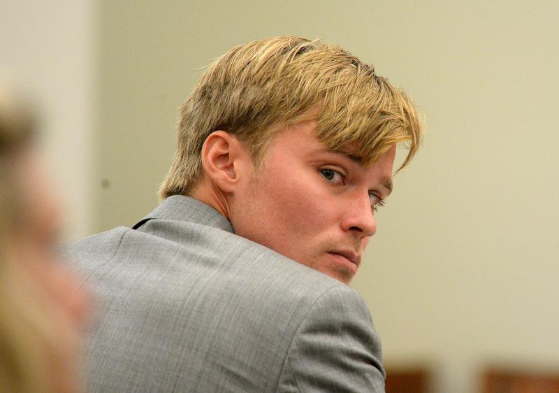Kevin Olsen sits during his trial in a Mecklenburg County court room on Thursday