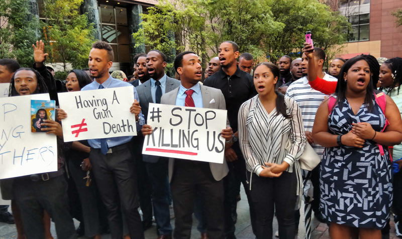 Protesters in uptown Charlotte on the day after the police killing of Keith Lamont Scott.