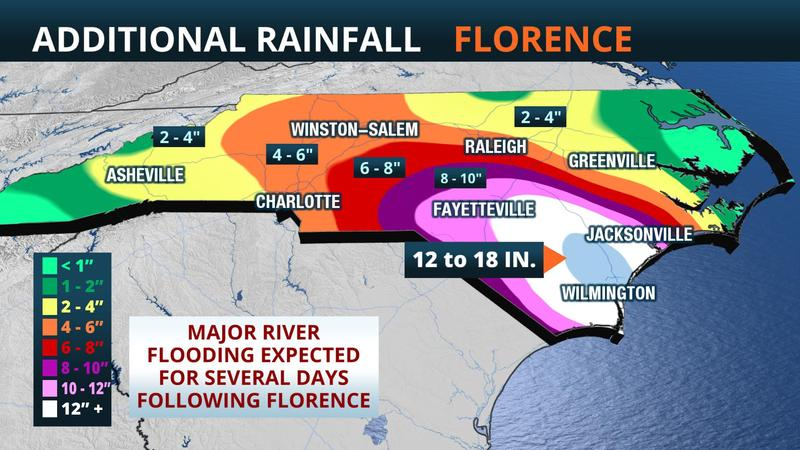 Additional rainfall expected Saturday and Sunday from Tropical Storm Florence.