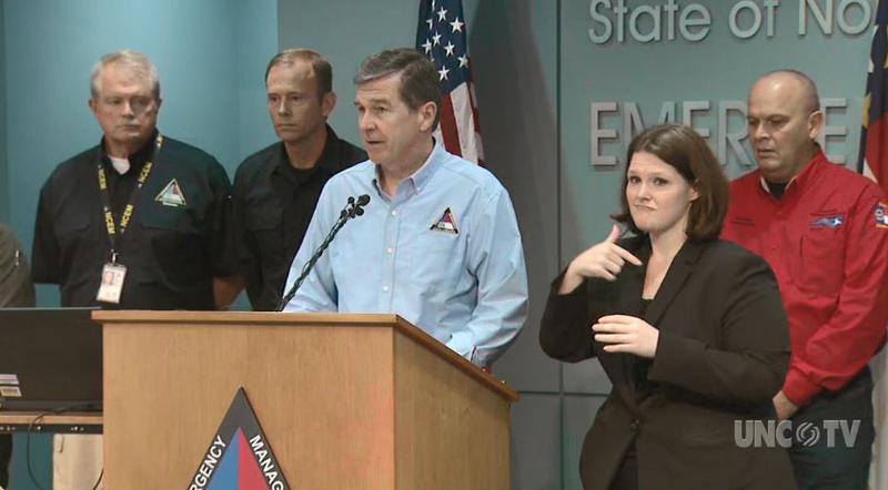 North Carolina Gov. Roy Cooper addresses the public at a press briefing on Florence updates.