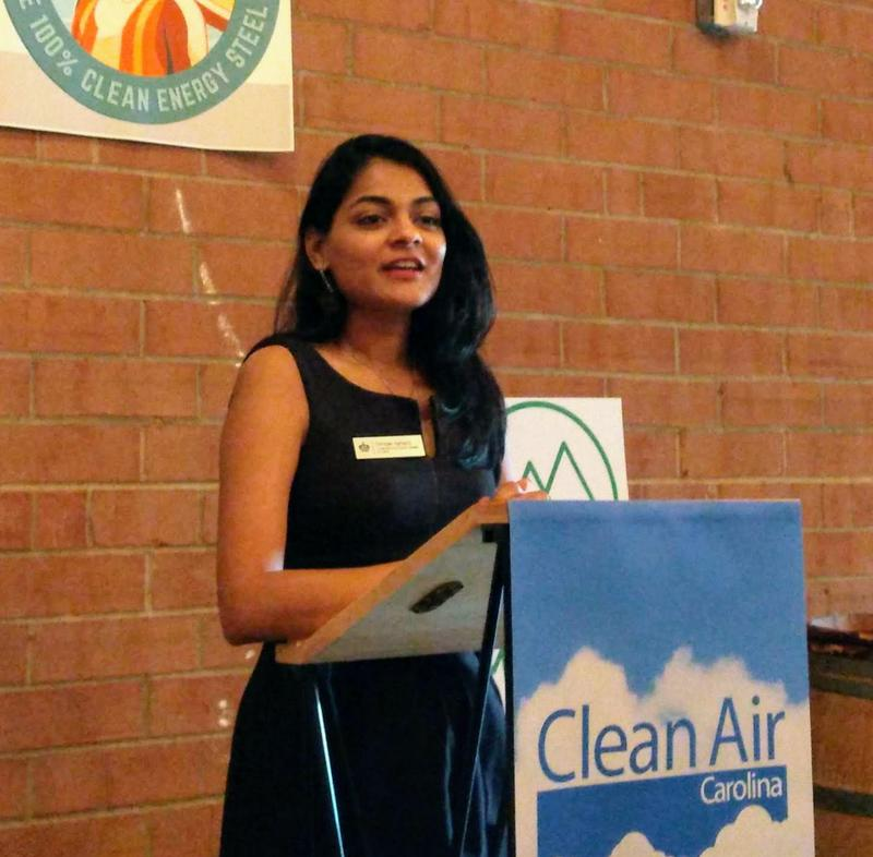 Charlotte City Council at-large member Dimple Ajmera spoke Wednesday at the launch of a nationwide clean energy steel campaign at BirdSong Brewing.